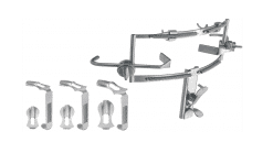 DINGMAN MOUTH GAG SET, COMPLETE SET OF 3 TONGUE BLADES, UPPER BLADES AND CHEEK RETRACTORS, TONGUE BLADES GERMAN STAINLESS STEEL O.R. GRADE STAINLESS STEEL