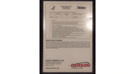 Gerson 1730 N95 Mask Back of Box